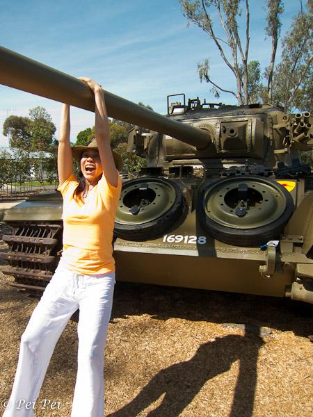 Hanging onto tank